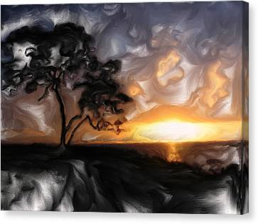 Sunset With Tree Canvas Print by Mark Denham