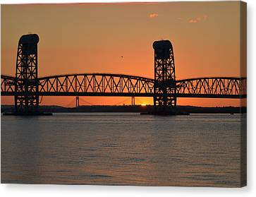 Canvas Print featuring the photograph Sunset's Last Light Bridges Over Jamaica Bay by Maureen E Ritter