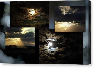 Canvas Print featuring the photograph Sunsets Moons Rise by Irma BACKELANT GALLERIES