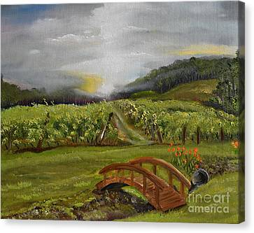 Canvas Print featuring the painting Sunshine Bridge At The Cartecay Vineyard - Ellijay Ga - Vintner's Choice by Jan Dappen