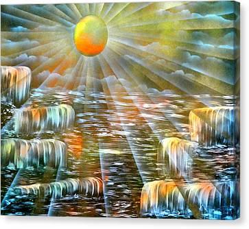 Sunshine Falls Canvas Print by BethofArt Donley