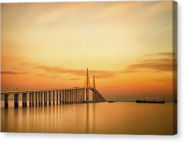 Water Vessels Canvas Print - Sunshine Skyway Bridge by G Vargas