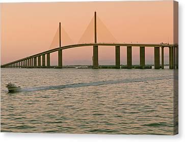 Sunshine Skyway Bridge Canvas Print by Ixefra