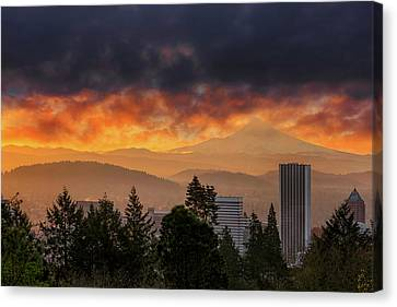 Sunsrise Over City Of Portland And Mount Hood Canvas Print by David Gn