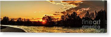 Sunstar Over The Payette Canvas Print by Robert Bales