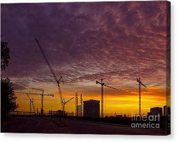 Suntrust Park Sunrise Cranes Building The Future Canvas Print by Reid Callaway