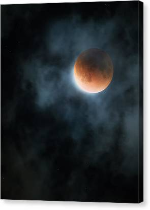 Glowing Moon Canvas Print - Super Blood Moon 2015 by Bill Wakeley