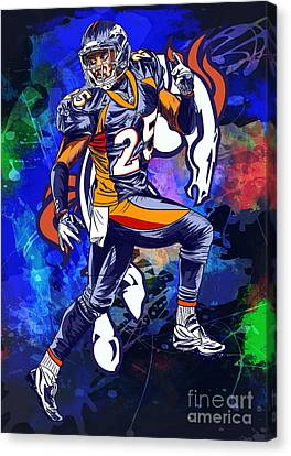 Canvas Print featuring the drawing Super Bowl 2016  by Andrzej Szczerski