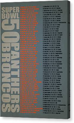 Super Bowl 50 Broncos Panthers Roster Canvas Print by Joe Hamilton