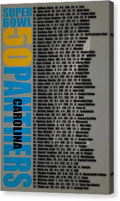 Super Bowl 50 Carolina Panthers Roster Canvas Print by Joe Hamilton