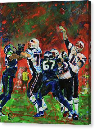 Canvas Print featuring the painting Super Bowl 49 by Walter Fahmy