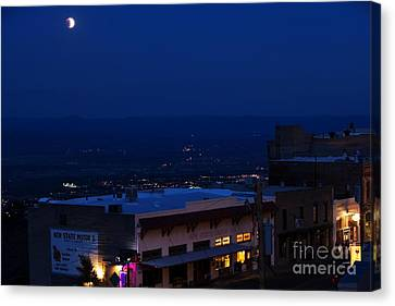 Canvas Print featuring the photograph Super Full Moon 1/2 Eclipse Over Jerome Az by Ron Chilston