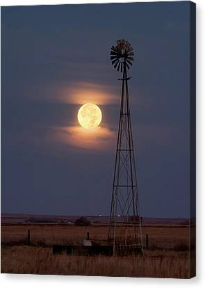 Super Moon And Windmill Canvas Print