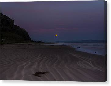 Super Moon At Downhill Beach Canvas Print