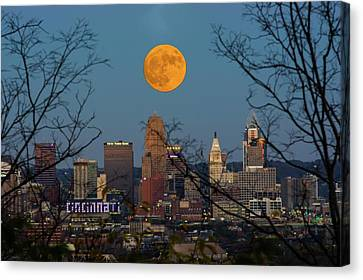Super Moon City Thru The Trees Canvas Print by Randall Branham