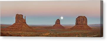 Super Moon In Monument Valley Canvas Print by Jon Glaser