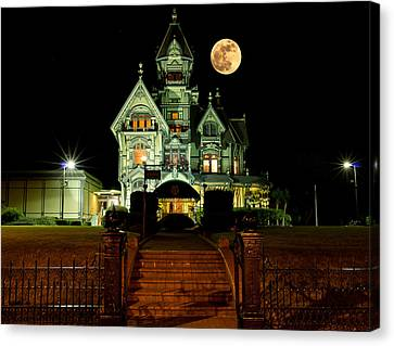 Super Moon Over Carson Mansion Canvas Print