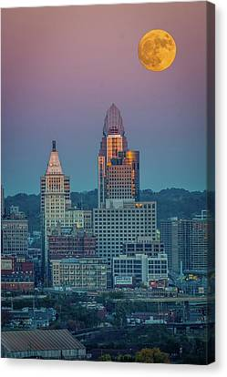 Super Moon Over Great American City Canvas Print by Randall Branham