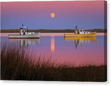 Nauset Beach Canvas Print - Super Moon Over Nauset Beach Cape Cod National Seashore by Dapixara Art