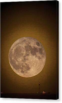 Super Moon Over Petit Manan Canvas Print by Brent L Ander