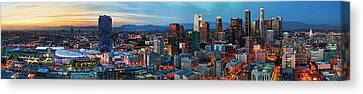 Super Wide View Of Los Angeles At Dusk Canvas Print by Kelley King