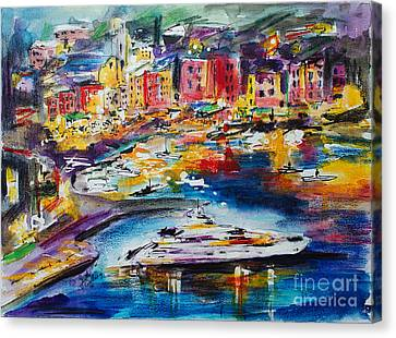 Evening In Portofino Italy Super Yacht Travel Canvas Print