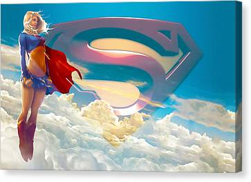 Supergirl Art Canvas Print by Marvin Blaine