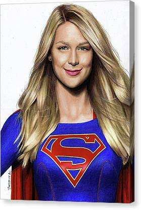 Supergirl Drawing Canvas Print by Jasmina Susak