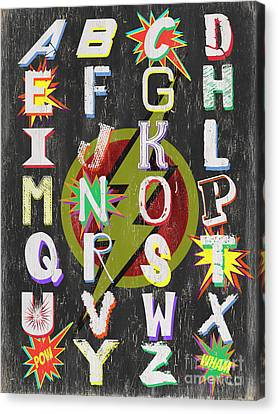 Vintage Sign Canvas Print - Superhero Alphabet by Debbie DeWitt