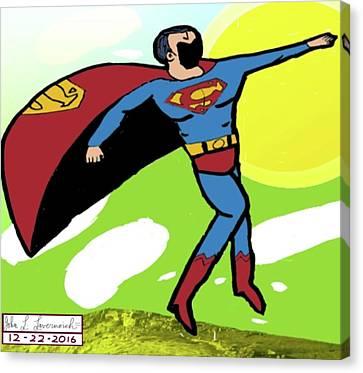 Superman In Flight Canvas Print by John Lavernoich