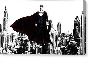 Superman In Manhattan Comic Charcoal Canvas Print