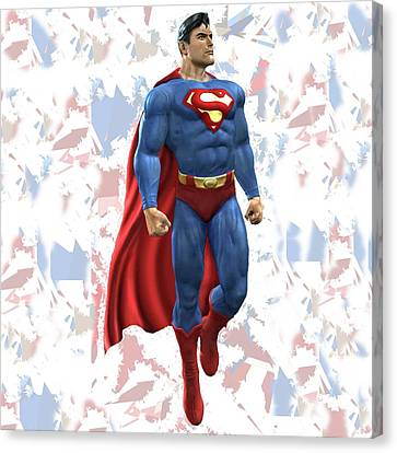 Canvas Print featuring the mixed media Superman Splash Super Hero Series by Movie Poster Prints