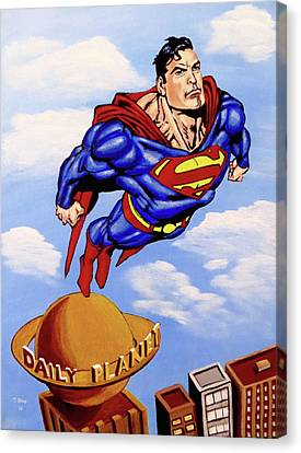 Canvas Print featuring the painting Superman by Teresa Wing