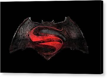 Canvas Print featuring the photograph Superman Vs Batman by Louis Ferreira
