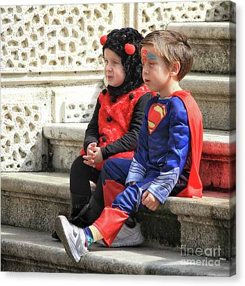 Superman With His Buddy Canvas Print by Stephan Grixti