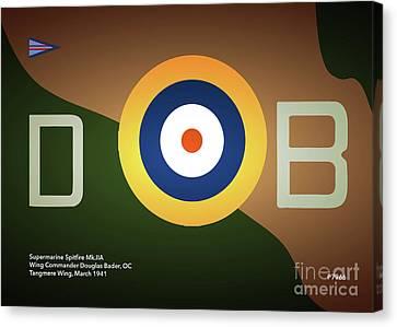 Douglas Bader Canvas Print - Supermarine Spitfire P7966 by J Biggadike