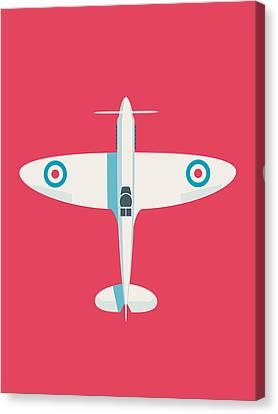 Raf Canvas Print - Supermarine Spitfire Raf Fighter Plane - Crimson by Ivan Krpan