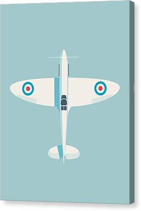 Supermarine Spitfire Raf Fighter Plane - Sky Canvas Print by Ivan Krpan