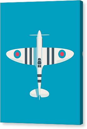 Raf Canvas Print - Supermarine Spitfire Wwii Raf Royal Air Force Fighter Aircraft - Stripe Blue by Ivan Krpan