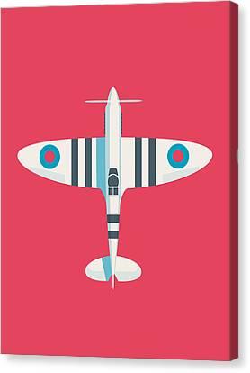Raf Canvas Print - Supermarine Spitfire Wwii Raf Royal Air Force Fighter Aircraft - Stripe Crimson by Ivan Krpan