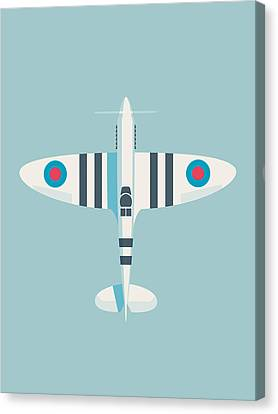 Raf Canvas Print - Supermarine Spitfire Wwii Raf Royal Air Force Fighter Aircraft - Stripe Sky by Ivan Krpan