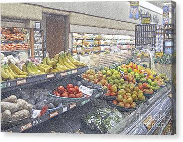 Canvas Print featuring the photograph Supermarket Produce Section by David Zanzinger