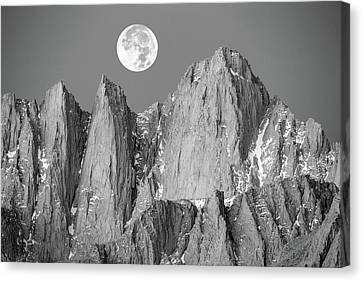 Canvas Print featuring the photograph Supermoon And Mount Whitney. by Johnny Adolphson