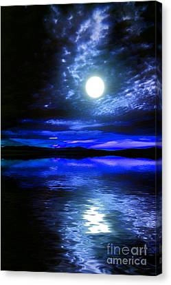 Supermoon Over Lake 2 Canvas Print by Elaine Hunter