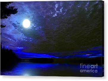 Supermoon Over Lake Canvas Print by Elaine Hunter
