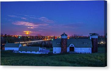 Supermoon Over Lebanon Oh And Farm Canvas Print by Randall Branham