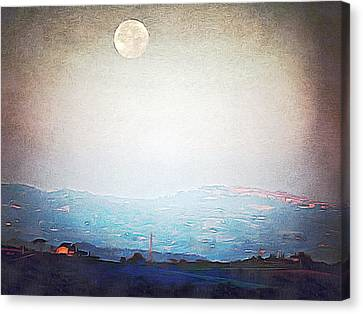 Supermoon Over Montepulciano At Sunrise Canvas Print by Dorothy Berry-Lound