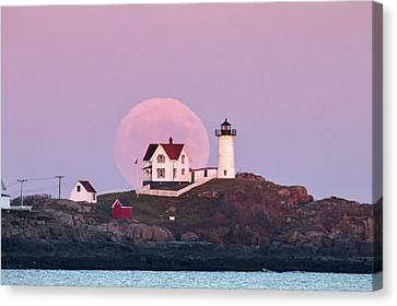 Supermoon Over Nubble Lighthouse Canvas Print
