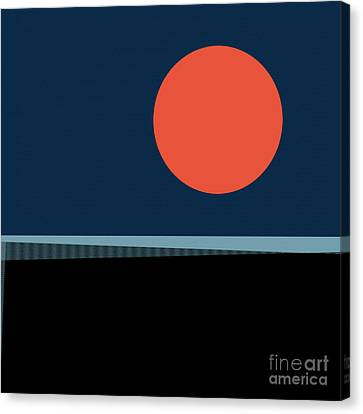 Canvas Print featuring the digital art Supermoon Over The Sea by Klara Acel
