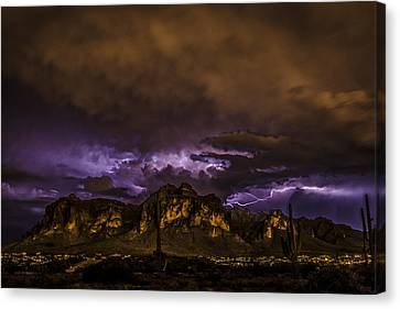 Superstition Lightning Canvas Print by Chuck Brown
